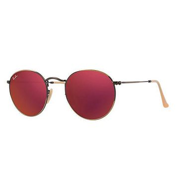 Ray Ban Round Sunglass Brushed Bronze Red Mirrored RB 3447 167/2K