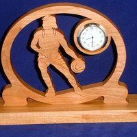 Basketball Desk Clock Handcrafted From Cherry Wood