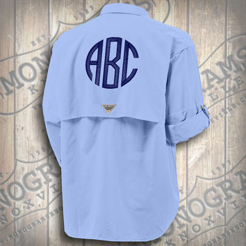 Monogrammed Fishing Shirt - Columbia PFG Men's Blue Bahama II Long Sleeve (Font shown NATURALCIRCLE in Navy)