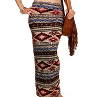 Taupe/Black/Burgundy Tribal Maxi Skirt