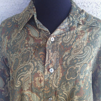 St John's bay button front long sleeved paisly medium cotton shirt blouse green paisly design