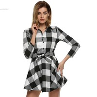 Spring Summer Plaid Dress Fashion Brand New Long Sleeve Lapel T Shirt Dress Women  Clothing Casual belt Dress Vestidos