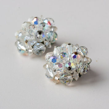 Vintage Crystal Cluster Aurora Borealis Clip On Earrings