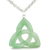 Celtic Triquetra Knot Magic Amulet Green Quartz Powers Pendant 22 Inch Necklace