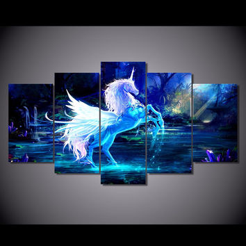 Unicorn Fantasy 5-Piece Wall Art Canvas