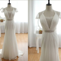 Jenny Packham Inspired Lace Chiffon Wedding Dress Cap Sleeves A LINE Beaded Sash See Through Lace Back Dress