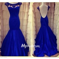 Fashion Royal Blue Beaded Cap Sleeves Satin Mermaid Prom Dress With Open Back