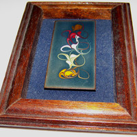 Hand Crafted Miniature Abstract Oil Painting on Copper Panel, Wood Frame - Shadowbox effect, Red, Bronze, Yellow, Orange,  Vintage Art