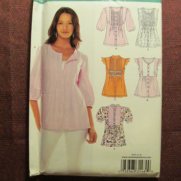 SALE Uncut Simplicity New Look Sewing Pattern, 6781! 8-10-12-14-16-18 Small/Medium/Large/XL/Women's/Misses/Ruffle Sleeve Tops/Button Front B