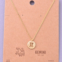 Dainty Circle Coin Gemini Zodiac Symbol Necklace - Gold or Silver