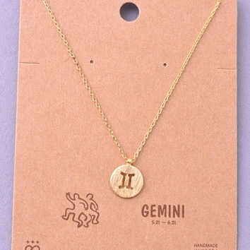 Dainty Circle Coin Gemini Zodiac Symbol Necklace - Gold, Silver or Rose Gold