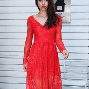 Red V-neck Sheer Sleeve Mesh Overlay Dress
