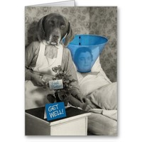 Funny Vintage Dog Nurse Get Well Card