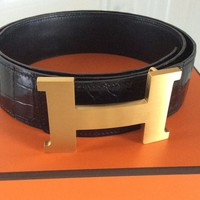 """HOLY GRAIL"" HERMES Black Crocodile 42mm Belt Kit Gold Buckle sz 90 $6800"