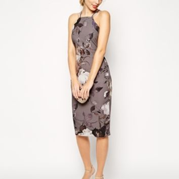 ASOS Grey Floral Drape Back Midi Dress