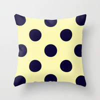 Vintage Navy and Cream Polka Dots Throw Pillow by Kat Mun