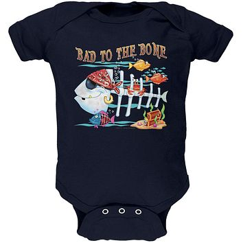 Bad to the Bone Pirate Fish Soft Baby One Piece