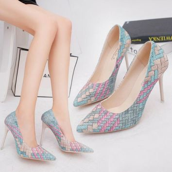 Summer Sexy Pointed Toe Vintage High Heel Korean Shoes [11192796743]
