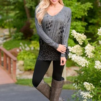 In Season Leopard Tunic Top - Charcoal