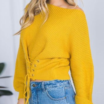 CREYOND Yellow Lace-up Corset Front Rib Knit Sweater