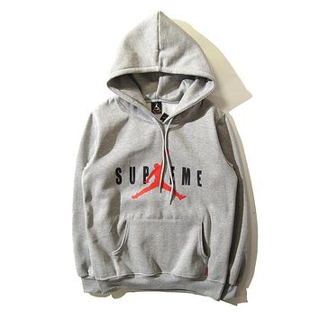 Mens Supreme X Air Jordan Men Hoodie Sweatshirt Gray
