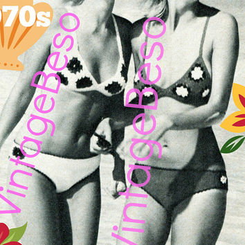 Digital Pattern - PdF - Sexy Granny Bikini Vintage CROCHET Pattern 1970s Swimsuit Bra Top Bottom Pants Granny Square Swimwear VintageBeso