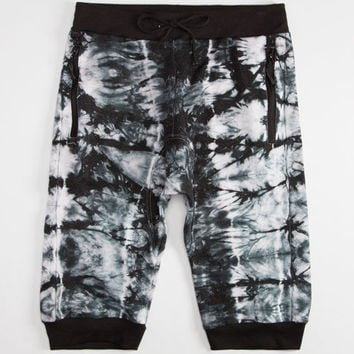 Uncle Ralph Tie Dye Mens French Terry Jogger Shorts Black/White  In Sizes