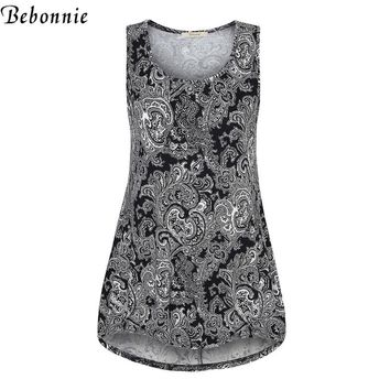 Bebonnie Fashion Summer Cool Tribal Printed Tank Top Tees Irregular Hem Floral Casual Long Tunic Tops Soft Knitted Female Top