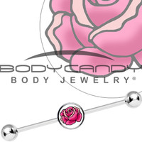 Tattoo Inspired Pink Blooming Rose Industrial Barbell | Body Candy Body Jewelry