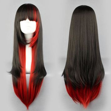 US Women Long Straight Hair Anime Cosplay Red And Black Blend Mix-color Hair Wig