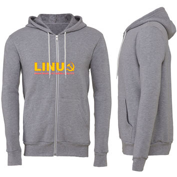 Linux because microsoft is for capitalists Zipper Hoodie