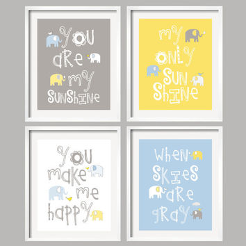 You Are My Sunshine, Blue, Yellow and Grey Nursery Art Prints, Elephant and bird, 8x10 - great baby shower gift