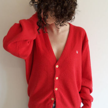 Vintage Christian Dior Red Button Ups Knit Grandpa Cardigan Sweater