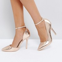 Glamorous Rose Gold Ankle Strap Court Shoes at asos.com