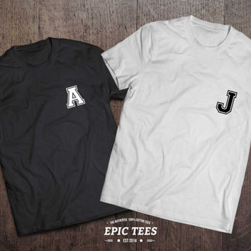 Custom initials couples shirts,Set of two couples Shirts, Custom initials, 100% cotton Tee, Black/White/Gray, UNISEX