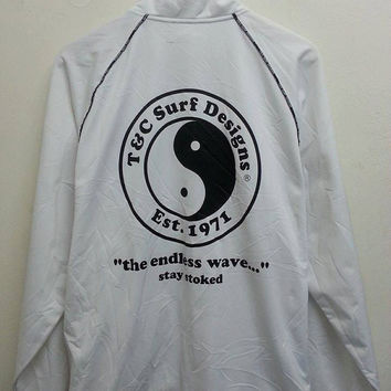 Rare T And C SURF DESIGN Hawaii Sweater Parka Bomber Jacket