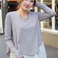 Grey Patchwork False 2-in-1 Irregular Knit Pullover