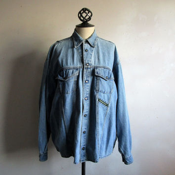 80s EDWIN Denim Shirt Blue Cotton Jean Shirt Mens Casual Tops Medium Made in Italy