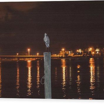 Blue Heron Night - Wood Print