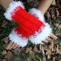 Christmas Gloves, Hand Warmer, Handmade, Christmas Gift, Gift Ideas, Fingerless Gloves, Red Gloves, Arm Warmers, Gift ideas, Gifts for her
