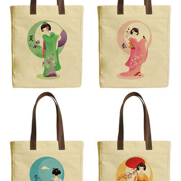 Japanese Kimono Beige Printed Canvas Tote Bags Leather Handles WAS_30