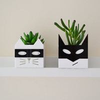 Superhero or supervillain cat planter Free UK P&P