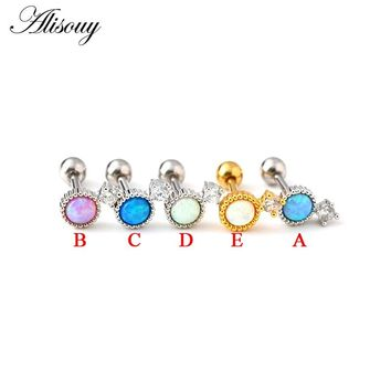 Alisouy 1pc Cute Opal Stone stud earrings Ear plug Cartilage Ear Studs Ear Lobe Piercing Labret Tragus piercing septum jewelry
