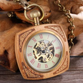 Wooden Case Mechanical Pocket Watch Antique Gold Skeleton Hollow Waist Watches Steampunk Hand Wind Fob Chain Clock for Gifts