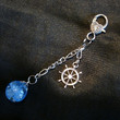 Fried Blue Marble Nautical Charm Rudder Keychain by KatieDidsx3