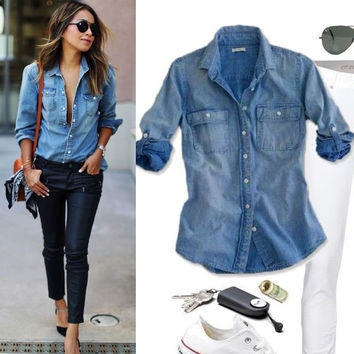 Summer Ladies Fashion Casual Jeans Clothes Fashion Women Casual Blue Jean Denim Long Sleeve Shirt Tops