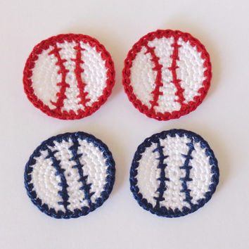 Baseball Applique, Crocheted Applique From Cotton Yarn- Crochet Supplies For Clothing, Hair Clips, Handbags 4pcs