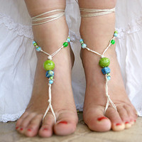 Barefoot sandals beaded with ceramic beads, Blue green tones beads,hippie barefoot sandals, barefoot sandles, crochet barefoot, yoga, anklet