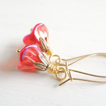 Bohemian Red Glass Poppy Flower Earrings Red Poppy Earrings Golden Red Flower Drops Glass Flower Drops Iridescent Red Glass Flower Earrings