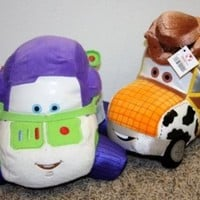 "Disney Lightning McQueen Themed Plush Cars of Toy Story 9"" Woody and 9"" Buzz Mint with Tags"